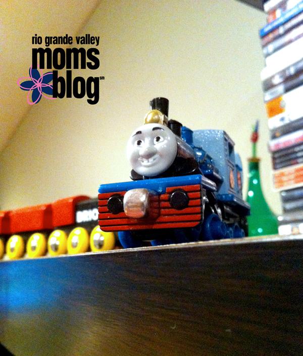trains on a shelf small