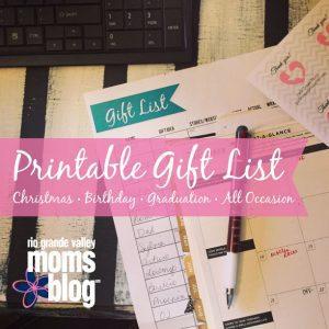 Printable Christmas Gift List :: RGV Moms Blog