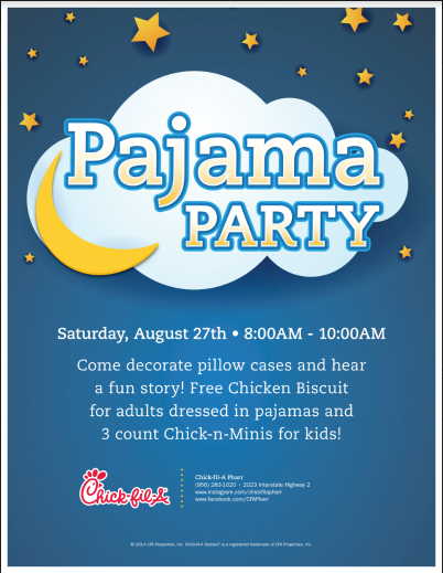 Story Time at Chick Fil A Pharr - Pajama Party to Launch the Saturday morning story time this school year