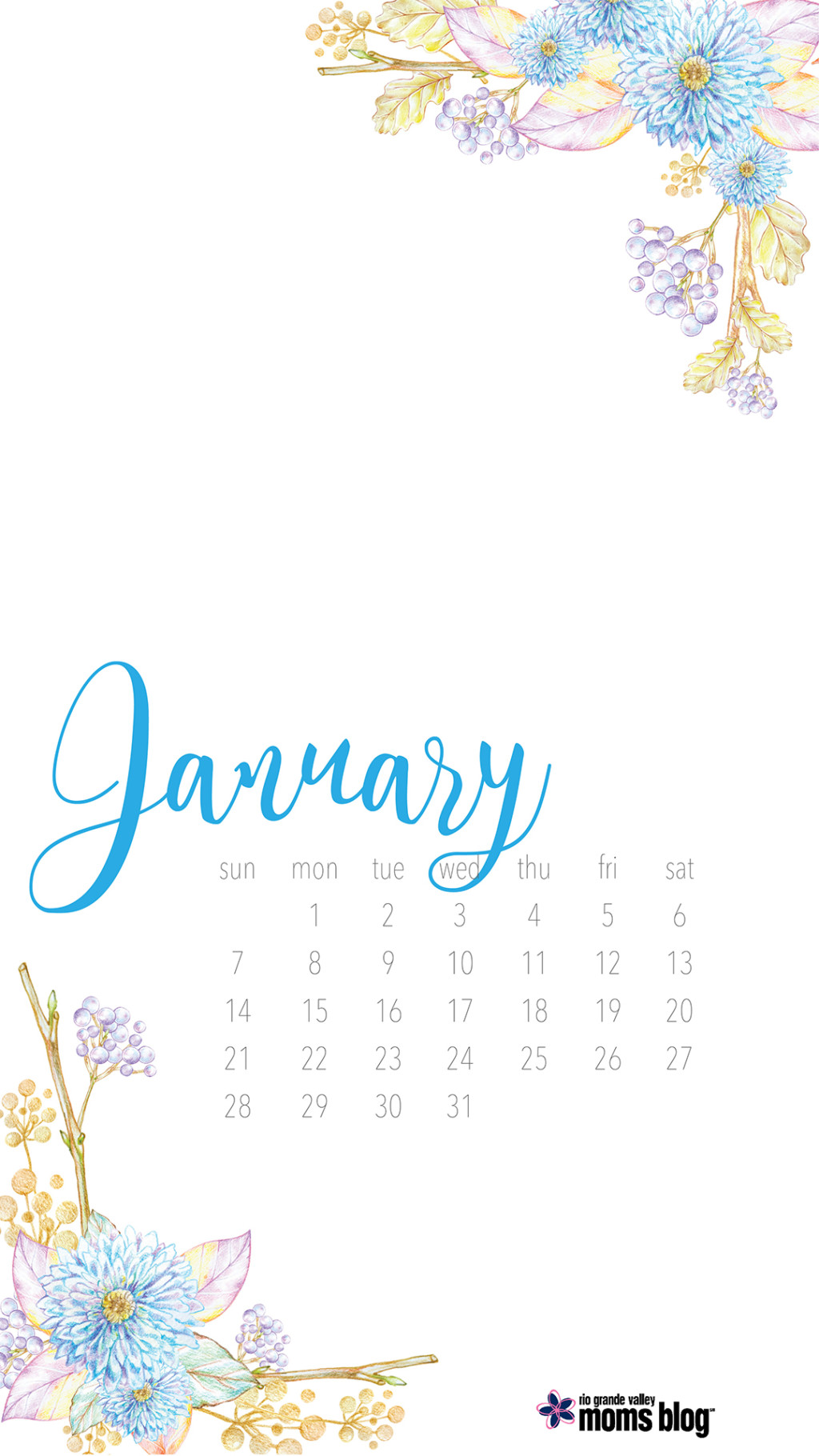 January Calendar 2018 iphone screensaver
