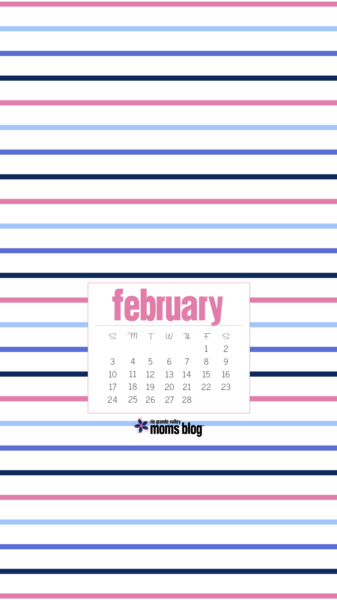 February 2019 - Calendar - Stripes