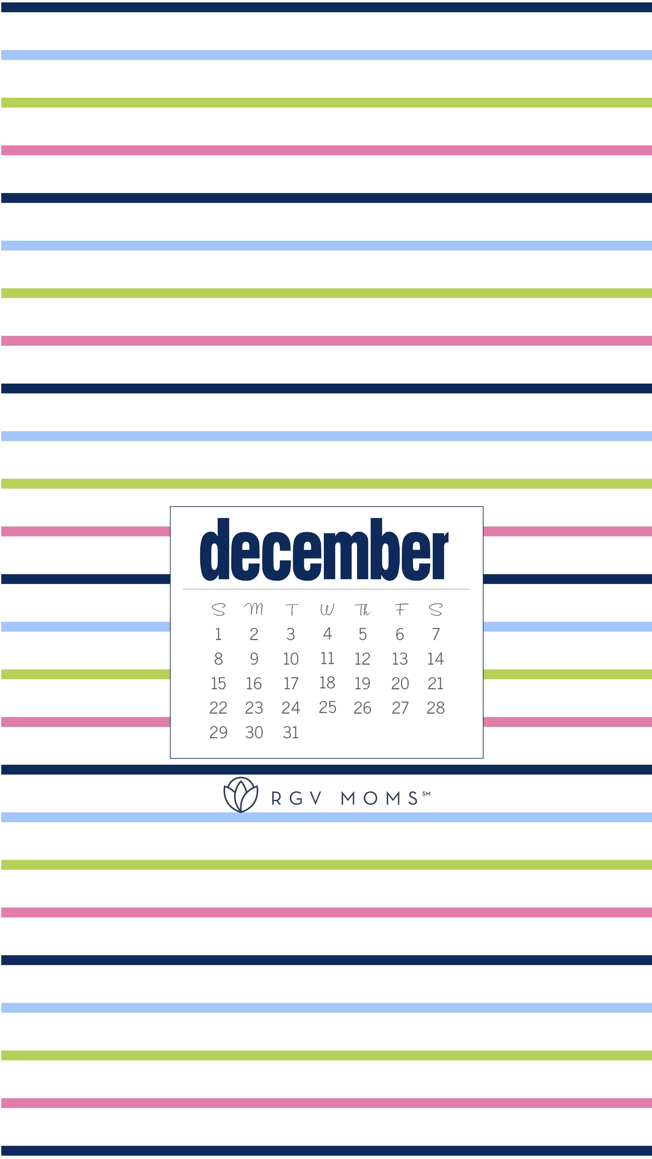 December 2019 Calendar Download Stripes